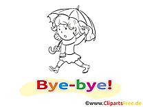 Parapluie dessins à imprimer - Adieu clipart