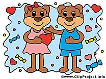Ours clip arts gratuits - Amoureux illustrations