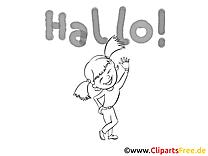 Fille clip art à colorier – Salut gratuite