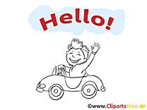 Illustration à colorier voiture - Salut clipart