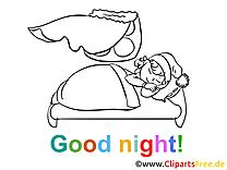 Bonne nuit image à colorier gratuite