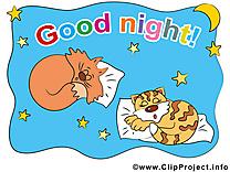 Chats clip art gratuit - Bonne nuit dessin