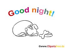 Chien clip art à imprimer – Bonne nuit gratuite
