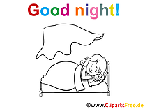Image à colorier petite fille - Bonne nuit clipart