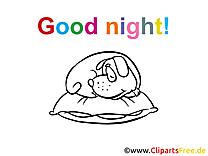 Images à colorier chien – Bonne nuit clipart