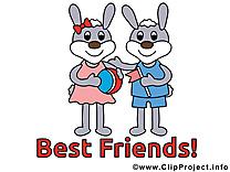 Illustration gratuite lapins - Meilleurs amis clipart