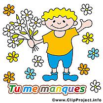 Fleurs illustration - Déclaration d'amour carte gratuite