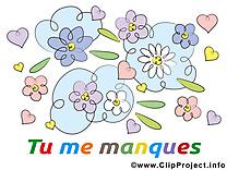 Je t'aime clipart gratuit - Fleurs images gratuites
