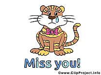 Tigre clip arts gratuits - Tu me manques illustrations gratuites