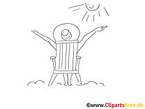 Bronzer au soleil image à colorier - Loisir clipart