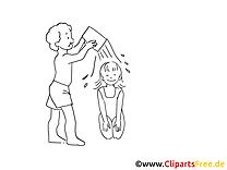 Donner douche image à colorier - Loisir illustration
