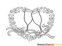 Coeur clip art à imprimer - Mariage dessin