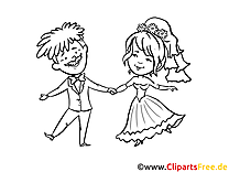 Coloriage gratuite couple - Mariage clipart