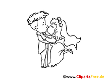 Coloriage jeunes mariés - Mariage dessins gratuits