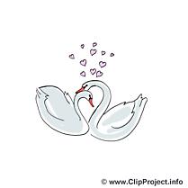 Cygnes clip art gratuit – Mariage images