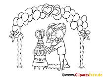 Gâteau dessin à colorier - Mariage images