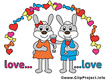Lapin dessin - Mariage clip arts gratuits