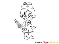 Coloriage  infirmière - Médecine clip art gratuit