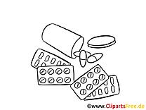 Comprimés dessin à imprimer - Médecine image