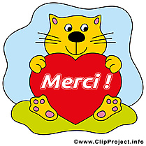 Chat coeur clip art – Merci gratuite