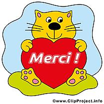 Chat coeur clip art – Merci gratuite