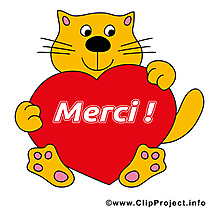 Chat coeur illustration - Merci images
