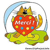 Chat coeur illustration gratuite - Merci clipart