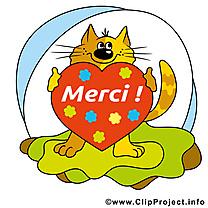 Chat coeur illustration gratuite - Merci clipart