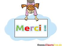 Fille illustration gratuite - Merci clipart