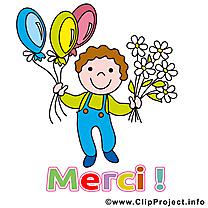 Garçon ballons dessin - Merci clip arts gratuits