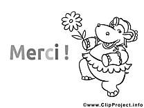 Hippopotame cliparts à colorier - Merci images