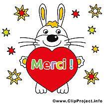 Lièvre coeur illustration gratuite - Merci clipart