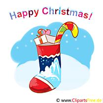 Chaussette De Noël Carte de Voeux, Clipart