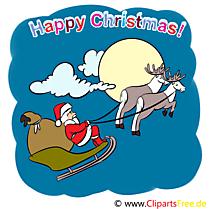 Père Noël en Traîneau Carte de Voeux