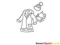 Hiver vêtements dessin gratuit à colorier