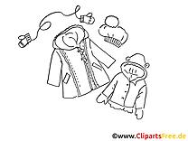 Vêtements d'hiver image à colorier illustration