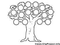 Dessin gratuit arbre généalogique à colorier