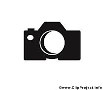 Appareil photo clip arts gratuits - Noir et blanc illustrations