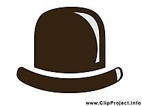 Chapeau melon clip art – Noir et blanc gratuite