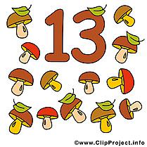 13 champignons image - Nombre illustration