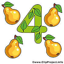 4 poires nombre illustration à télécharger gratuite
