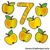 7 pommes clip art gratuit - Nombre dessin