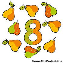 8 poires illustration gratuite - Nombre clipart