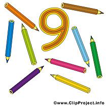9 crayons image gratuite - Nombre cliparts
