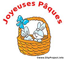 Panier lapin dessin - Pâques clip arts gratuits