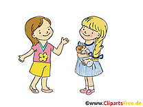 Copines image gratuite - Maternelle illustration