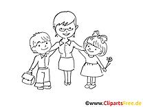 École maternelle illustration à colorier gratuite