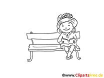 Fille sur banc coloriage clip art – Maternelle images