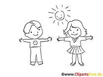 Gosses clip arts à colorier - Maternelle illustrations