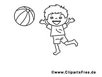 Jouer au ballon coloriage - Maternelle cliparts